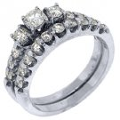WOMENS DIAMOND ENGAGEMENT RING WEDDING BAND BRIDAL SET ROUND 3 STONE ROUND CUT