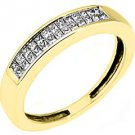 3/5CT WOMENS PRINCESS SQUARE CUT INVISIBLE DIAMOND RING WEDDING BAND YELLOW GOLD