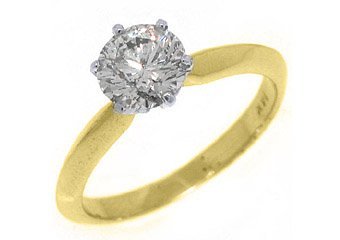 1.25 CARAT WOMENS SOLITAIRE BRILLIANT ROUND DIAMOND ENGAGEMENT RING YELLOW GOLD