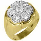 MENS 2.5 CARAT DIAMOND CLUSTER RING BRILLIANT ROUND CUT 7 STONE 14KT YELLOW GOLD
