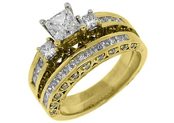 1.88 CARAT WOMENS DIAMOND ENGAGEMENT RING WEDDING BAND BRIDAL SET PRINCESS CUT