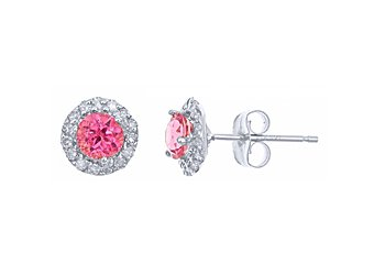 .65 CARAT PINK TOURMALINE DIAMOND STUD HALO EARRINGS 4mm BRILLIANT ROUND CUT