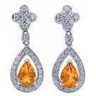 WOMENS 2 CARAT PEAR SHAPE ORANGE TOPAZ DIAMOND DANGLE EARRINGS WHITE GOLD
