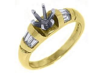 .57 CARAT WOMENS DIAMOND ENGAGEMENT RING SEMI-MOUNT BAGUETTE CUT YELLOW GOLD