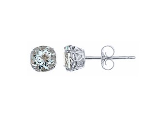 4/5 CARAT AQUAMARINE STUD EARRINGS 5mm ROUND 14KT WHITE GOLD MARCH BIRTH STONE