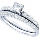 WOMENS DIAMOND ENGAGEMENT RING WEDDING BAND BRIDAL SET .99 CARATS PRINCESS CUT
