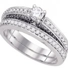 WOMENS DIAMOND ENGAGEMENT RING WEDDING BAND BRIDAL SET ROUND 1.03 CARATS