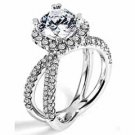 WOMENS DIAMOND ENGAGEMENT HALO RING BRILLIANT ROUND 2.10 CARATS 18KT WHITE GOLD