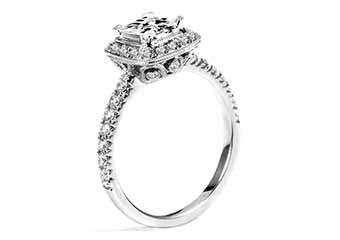 WOMENS DIAMOND ENGAGEMENT HALO RING PRINCESS CUT 1.57 CARAT 18K WHITE GOLD
