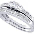 WOMENS DIAMOND ENGAGEMENT RING WEDDING BAND BRIDAL SET .45 CARATS PRINCESS CUT
