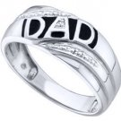 DIAMOND RING FATHERS DAY GIFT DAD 10k WHITE GOLD .005 CARATS