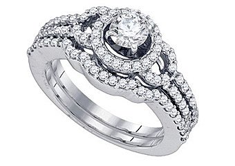 WOMENS DIAMOND ENGAGEMENT RING WEDDING BAND BRIDAL SET ROUND CUT 1.04 CARAT