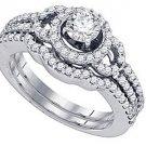 WOMENS DIAMOND ENGAGEMENT RING WEDDING BAND BRIDAL SET ROUND CUT 1.04 CARAT