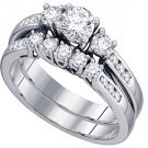 WOMENS DIAMOND ENGAGEMENT RING WEDDING BAND BRIDAL SET ROUND CUT 3-STONE 1 CARAT