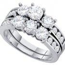 WOMENS DIAMOND ENGAGEMENT RING WEDDING BAND BRIDAL SET WHITE GOLD ROUND 2 CARATS
