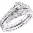 WOMENS DIAMOND ENGAGEMENT RING WEDDING BAND BRIDAL SET WHITE GOLD ROUND .94 CTS