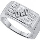 DIAMOND RING FATHERS DAY GIFT DAD 10k WHITE GOLD .12 CARATS