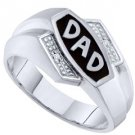 DIAMOND RING FATHERS DAY GIFT DAD 10k WHITE GOLD