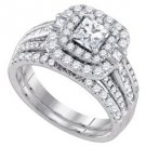 WOMENS DIAMOND HALO ENGAGEMENT RING WEDDING BAND BRIDAL SET PRINCESS CUT 2.0 CTS