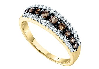 WOMENS BROWN CHAMPAGNE DIAMOND WEDDING BAND RING YELLOW GOLD