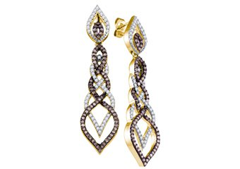 1.5 CARAT BRILLIANT ROUND  BROWN CHAMPAGNE DIAMOND DANGLE EARRINGS YELLOW GOLD