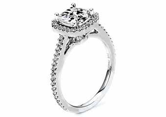 WOMENS DIAMOND ENGAGEMENT HALO RING PRINCESS SQUARE CUT 1.4 CARAT 14K WHITE GOLD