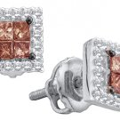 .33 CARAT PRINCESS SQUARE BROWN CHAMPAGNE DIAMOND STUD EARRINGS WHITE GOLD