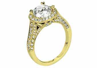 WOMENS DIAMOND ENGAGEMENT HALO RING ROUND CUT 1.91 CARAT 18K YELLOW GOLD