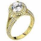 WOMENS DIAMOND ENGAGEMENT HALO RING ROUND CUT 1.99 CARAT 14K YELLOW GOLD