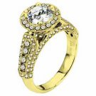 WOMENS DIAMOND ENGAGEMENT HALO RING ROUND CUT 2.11 CARAT 14K YELLOW GOLD