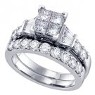 WOMENS DIAMOND ENGAGEMENT RING WEDDING BAND BRIDAL SET PRINCESS CUT INVISIBLE