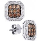 .77 CARAT OCTAGON SHAPE BROWN CHAMPAGNE DIAMOND HALO STUD EARRINGS WHITE GOLD