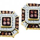 .48 CARAT BRILLIANT ROUND  BROWN CHAMPAGNE DIAMOND STUD EARRINGS YELLOW GOLD