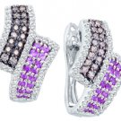 1.53 CARAT ROUND CUT  BROWN CHAMPAGNE PINK DIAMOND HOOP EARRINGS WHITE GOLD
