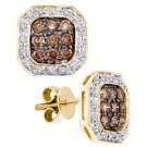 .77 CARAT OCTAGON SHAPE BROWN CHAMPAGNE DIAMOND HALO STUD EARRINGS YELLOW GOLD