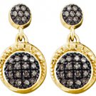 .25 CARAT BRILLIANT ROUND  BROWN CHAMPAGNE DIAMOND DANGLE EARRINGS YELLOW GOLD
