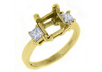 3-STONE WOMENS DIAMOND ENGAGEMENT RING SEMI-MOUNT PRINCESS CUT YELLOW GOLD