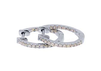 WOMENS 1/2 CARAT BRILLIANT ROUND CUT DIAMOND HOOP EARRINGS WHITE GOLD INSIDE OUT