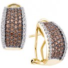1.51 CARAT BRILLIANT ROUND CUT BROWN CHAMPAGNE DIAMOND HOOP EARRINGS YELLOW GOL