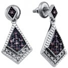.19 CARAT BRILLIANT ROUND  BROWN CHAMPAGNE DIAMOND DANGLE EARRINGS 925 SILVER