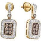 .50 CARAT BRILLIANT ROUND  BROWN CHAMPAGNE DIAMOND DANGLE EARRINGS YELLOW GOLD