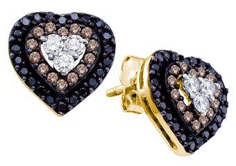 .50 CARAT HEART SHAPE BROWN CHAMPAGNE & BLACK DIAMOND STUD EARRINGS YELLOW GOLD
