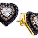.50 CARAT HEART SHAPE BROWN CHAMPAGNE & BLACK DIAMOND STUD EARRINGS YELLOW GOLD