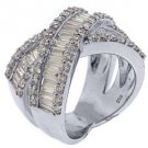 3.53CT WOMENS BRILLIANT ROUND BAGUETTE CUT DIAMOND RING WEDDING BAND WHITE GOLD
