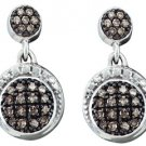 .25 CARAT BRILLIANT ROUND  BROWN CHAMPAGNE DIAMOND DANGLE EARRINGS WHITE GOLD