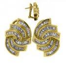 WOMENS 1.75 CARAT BAGUETTE CUT DIAMOND EARRINGS 14KT YELLOW GOLD OMEGA BACK