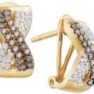.53 CARAT BRILLIANT ROUND CUT  BROWN CHAMPAGNE DIAMOND HOOP EARRINGS YELLOW GOLD