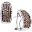 1.51 CARAT BRILLIANT ROUND CUT  BROWN CHAMPAGNE DIAMOND HOOP EARRINGS WHITE GOLD