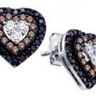 .50 CARAT HEART SHAPE BROWN CHAMPAGNE & BLACK DIAMOND STUD EARRINGS WHITE GOLD