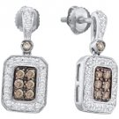 .50 CARAT BRILLIANT ROUND  BROWN CHAMPAGNE DIAMOND DANGLE EARRINGS WHITE GOLD
